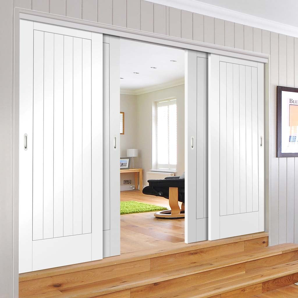Four Sliding Doors and Frame Kit - Suffolk Flush Door - White Primed