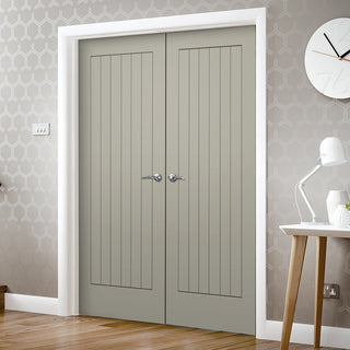 Image: Prefinished Suffolk Flush Door Pair - Choose Your Colour