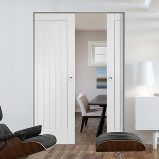 Image: Suffolk Flush Absolute Evokit Double Pocket Door - Primed