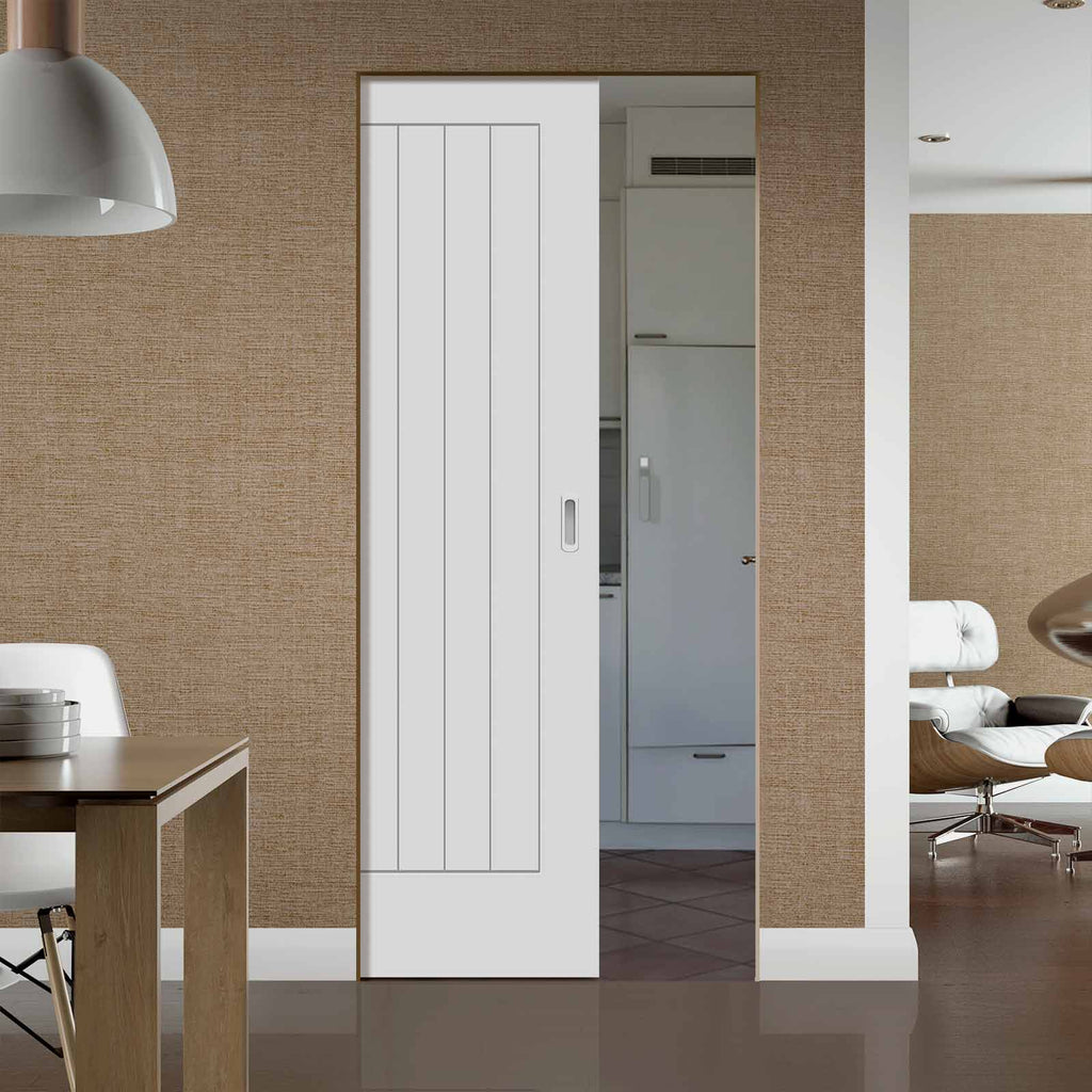 Suffolk Flush Absolute Evokit Pocket Door - Primed