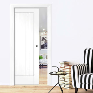 Image: Suffolk Fire Evokit Pocket Fire Door - 1/2 Hour Fire Rated - White Primed