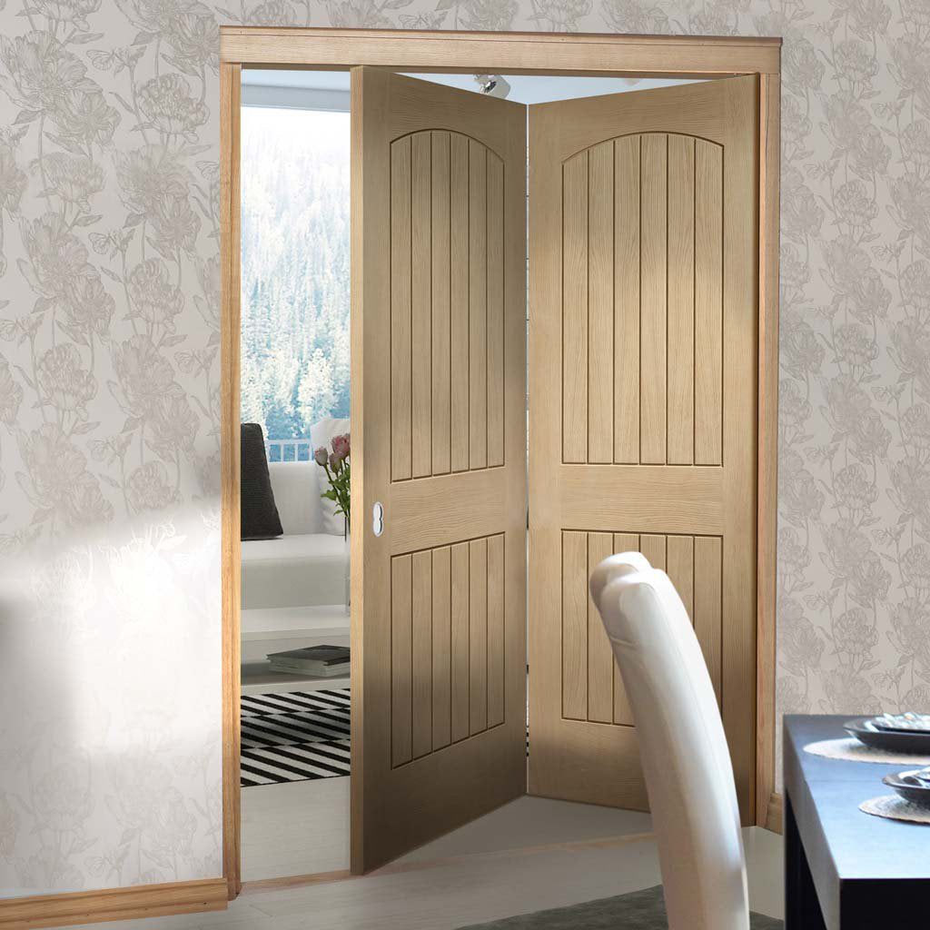 Two Folding Doors Frame Kit Sussex Oak 20 Lining Effect Both Si