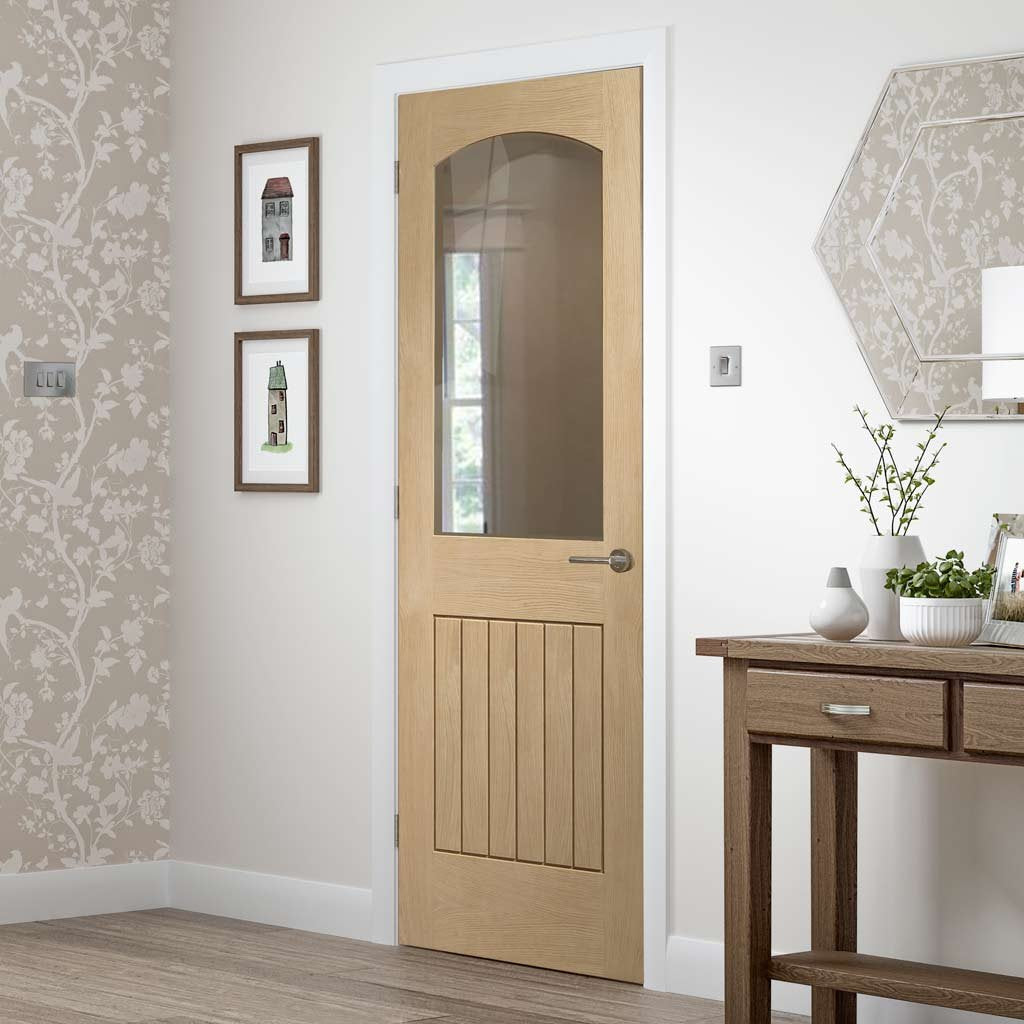 Sussex Oak Door 1 Pane Clear Glass Lining Effect Both Sides