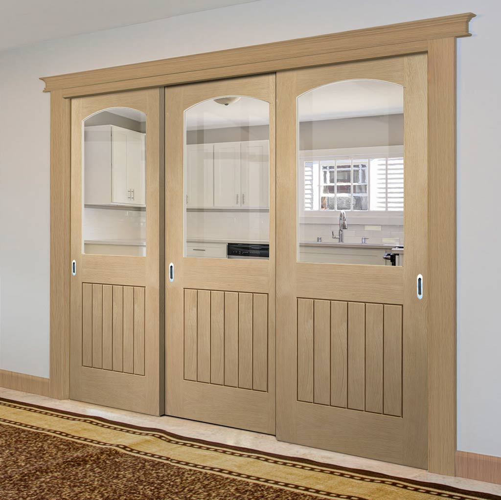 Three Sliding Doors and Frame Kit - Sussex Oak Door - 1 Pane Clear Glass - Lining Effect Both Sides