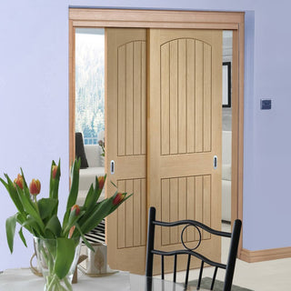 Image: Thruslide Sussex Oak - 2 Sliding Doors and Frame Kit - Lining Effect Both Sides