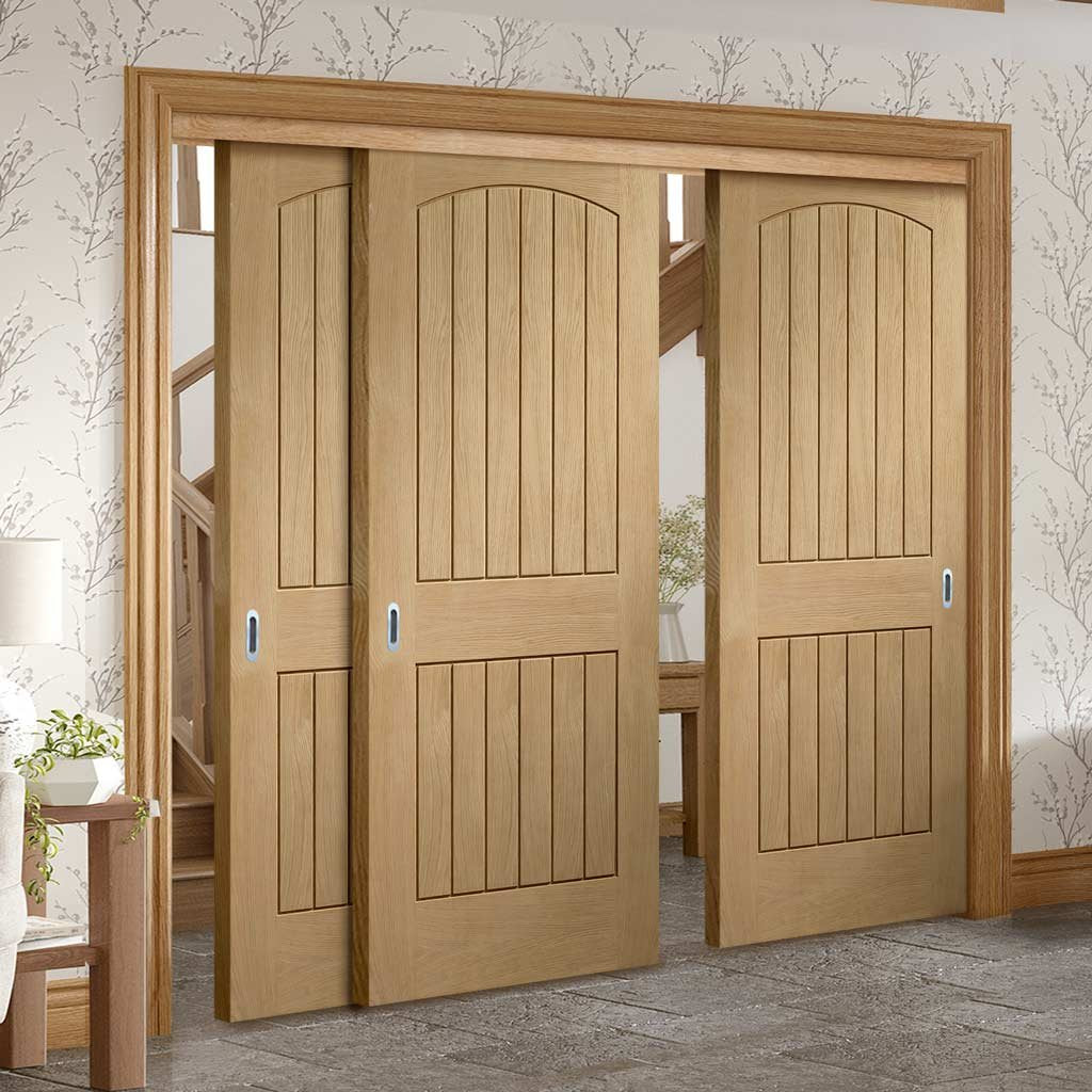 Three Sliding Doors And Frame Kit Sussex Oak Door Lining Effect Bo