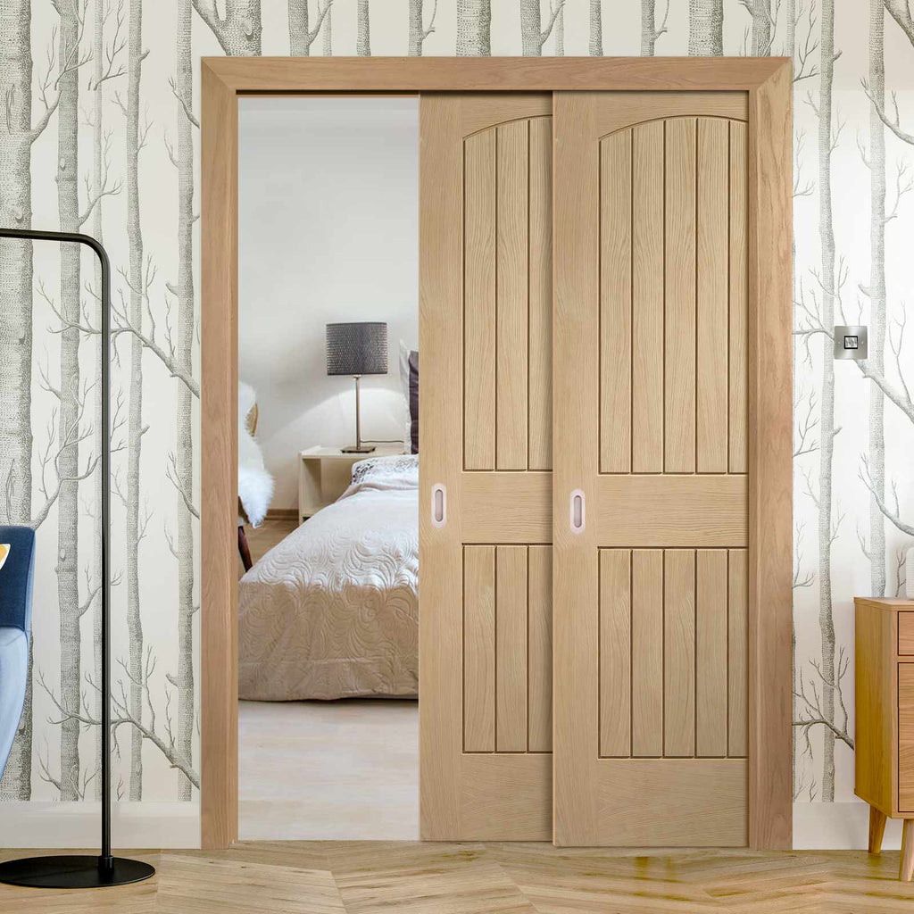 Sussex Oak Staffetta Twin Telescopic Pocket Doors - Lining Effect Both Sides
