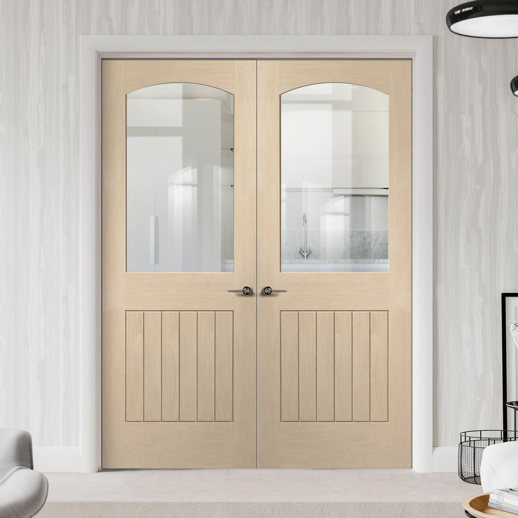 Prefinished Sussex Oak Door Pair - Clear Glass - Lining Effect Both Sides - Choose Your Colour