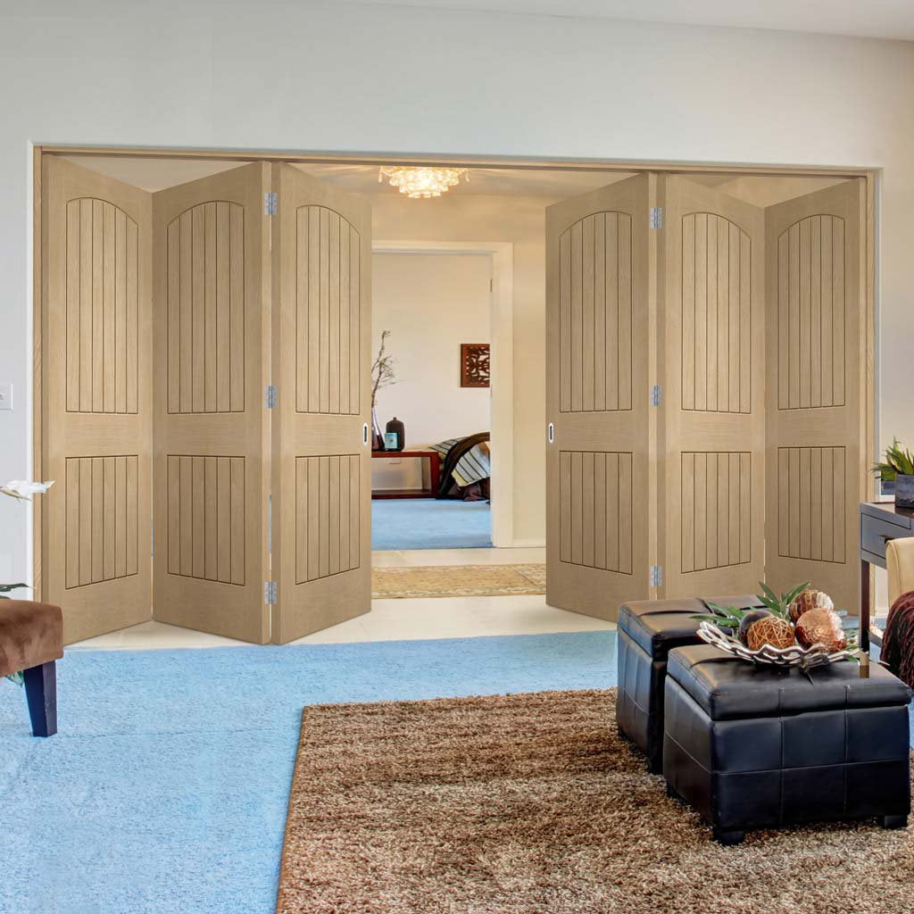 Six Folding Doors & Frame Kit - Sussex Oak 3+3 - Lining Effect Both Sides