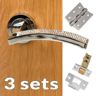 Image: Three Pack Senza Pari Crystal Lever on Round Rose CR - Polished Chrome Handle