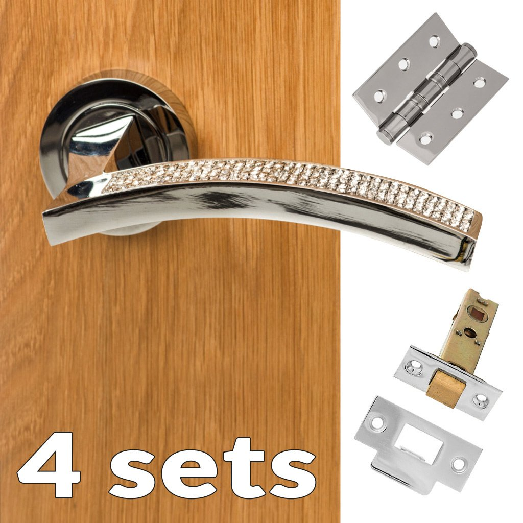 Four Pack Senza Pari Crystal Lever on Round Rose CR - Polished Chrome Handle