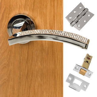Image: Senza Pari Crystal Lever on Round Rose CR - Polished Chrome Handle Pack