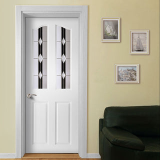 Image: White PVC swept top door with grained faces ebony jet style toughened glass