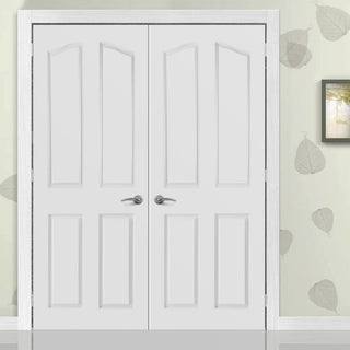 Image: Swept Top Lightly Grained PVC 4 Panel Door Pair