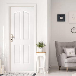 Image: Swept Top Lightly Grained PVC 4 Panel Door