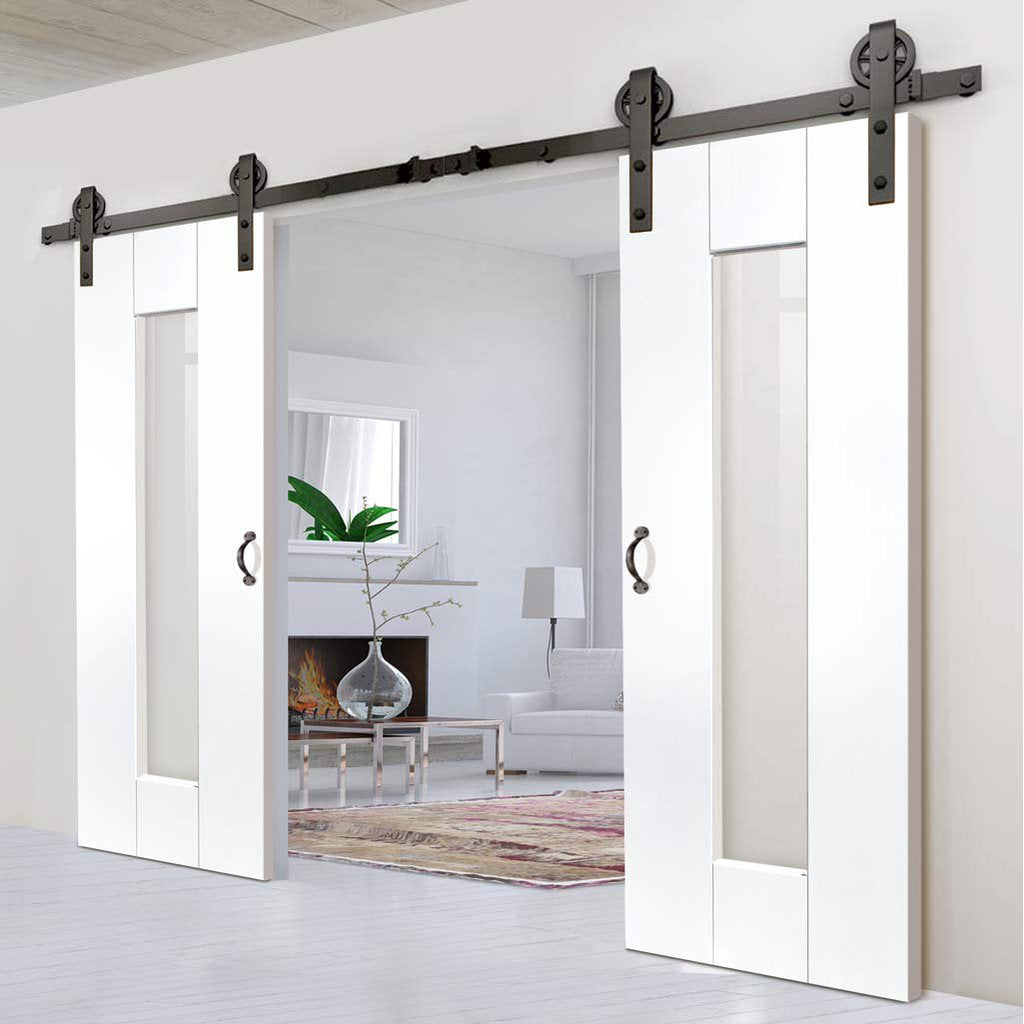 Double Sliding Door & Track - Axis White Doors - Clear Glass