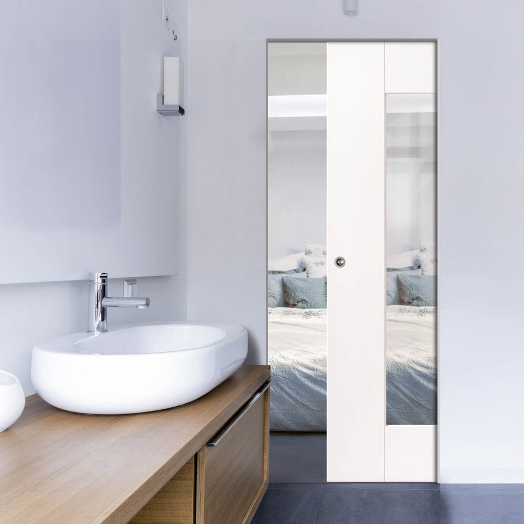Axis Absolute Evokit Pocket Door - Clear Glass - White Primed