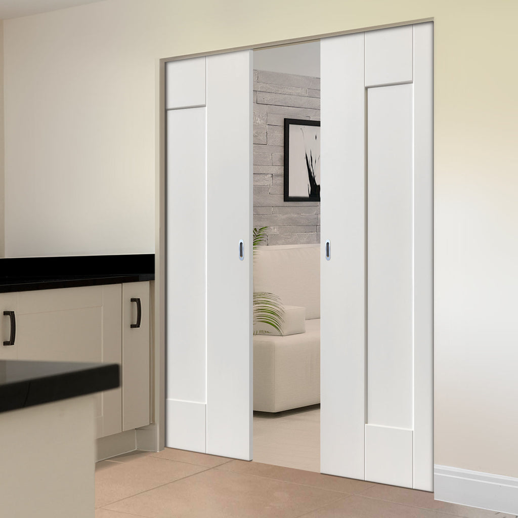 Axis Panelled Absolute Evokit Double Pocket Doors - White Primed