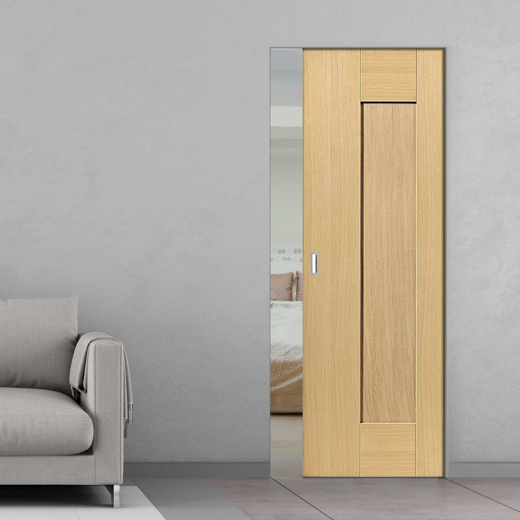 Axis Shaker Oak Panelled Absolute Evokit Pocket Door - Prefinished