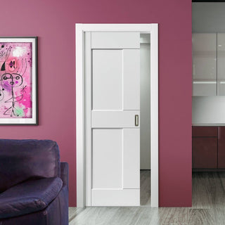 Image: Eccentro White Panelled Single Evokit Pocket Door - Prefinished