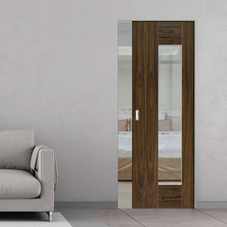 Image: Axis Shaker Walnut Absolute Evokit Pocket Door - Clear Glass - Prefinished