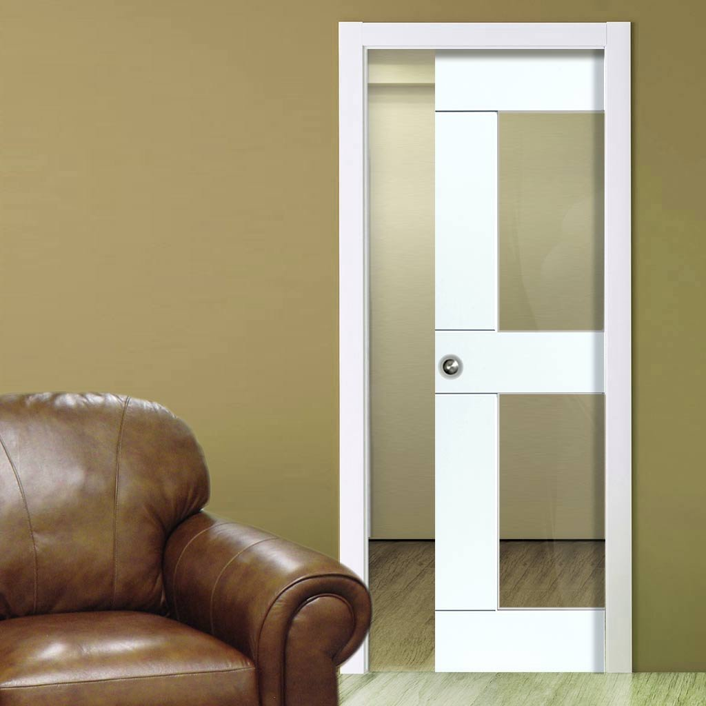 Eccentro White Single Evokit Pocket Door - Clear Glass - Prefinished
