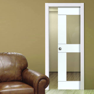 Image: Eccentro White Single Evokit Pocket Door - Clear Glass - Prefinished