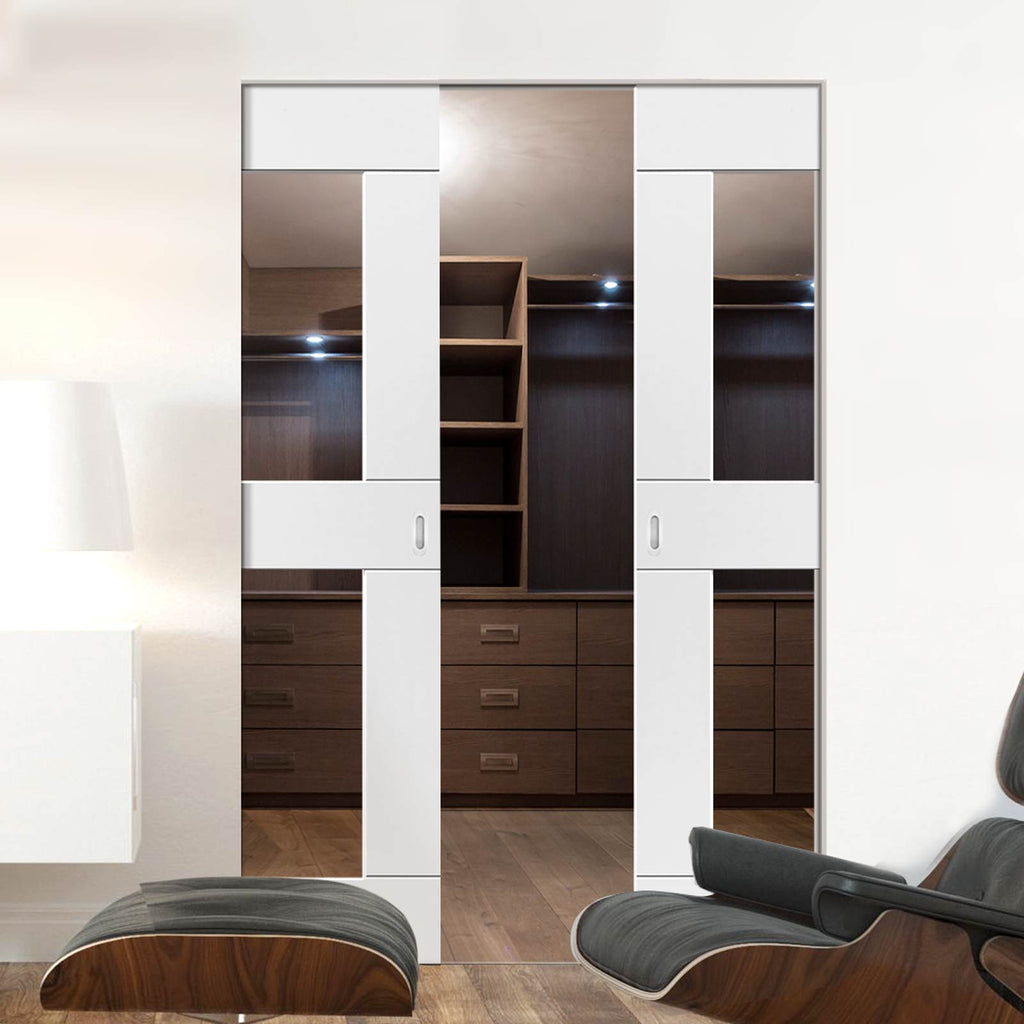 Eccentro White Absolute Evokit Double Pocket Doors - Clear Glass - Prefinished