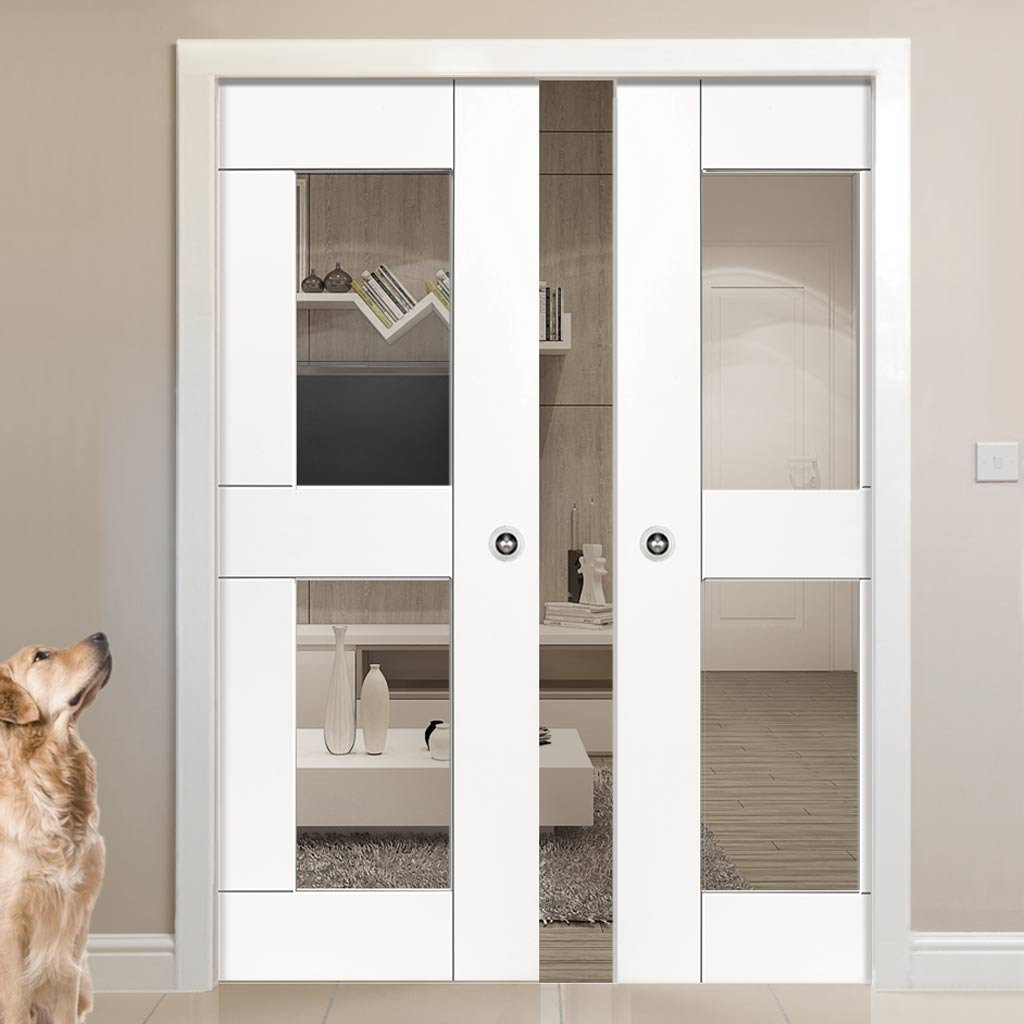 Eccentro White Double Evokit Pocket Doors - Clear Gl - Prefinished on