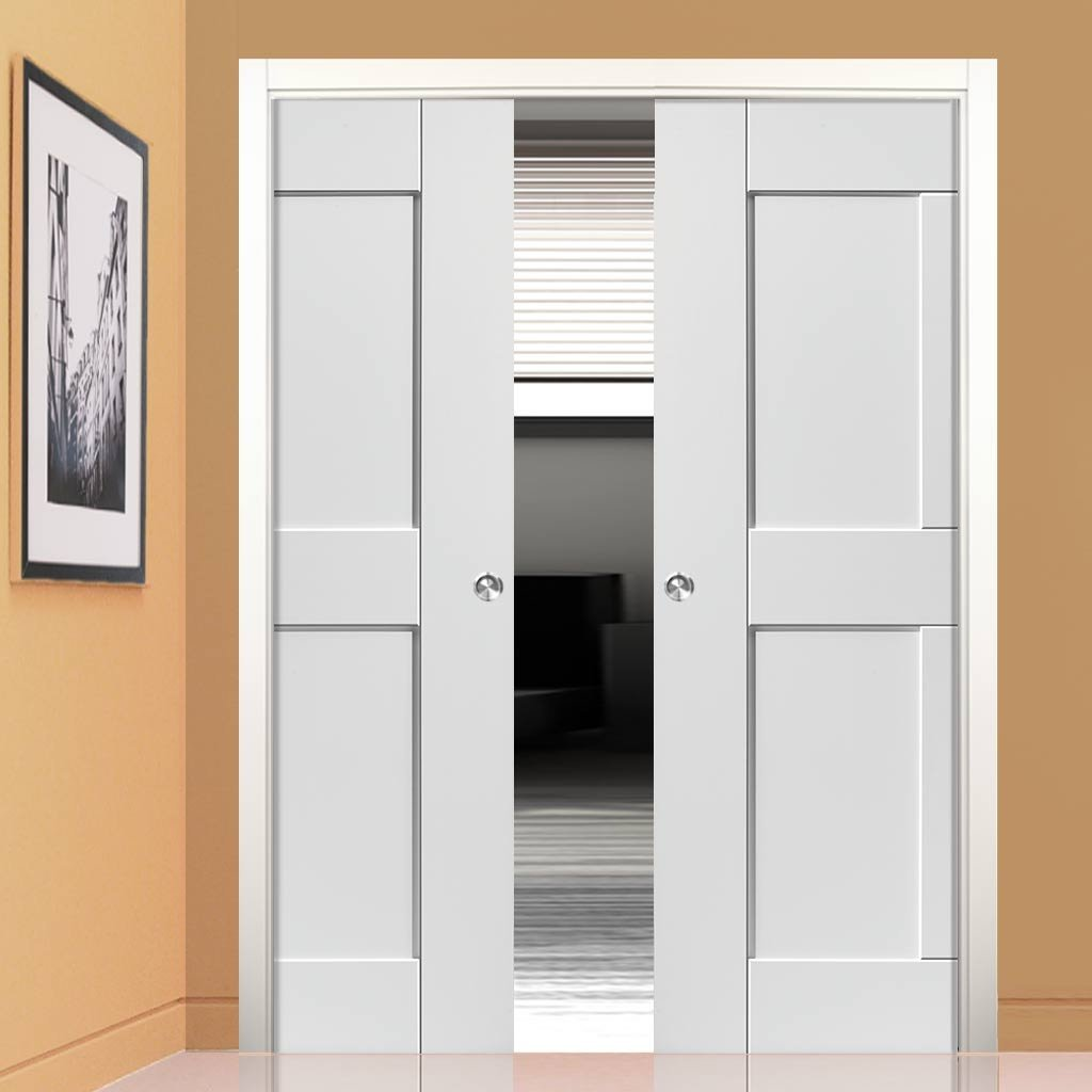 Symmetry Eccentro White Panelled Double Evokit Pocket Doors - Prefinished