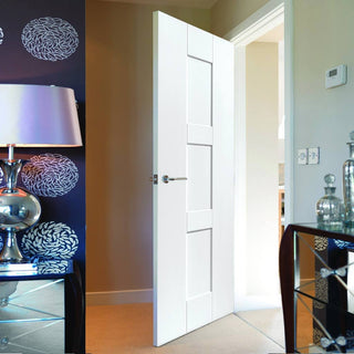 Image: JBK White Shaker Geo Primed Panel Door - 30 Minute Fire Rated