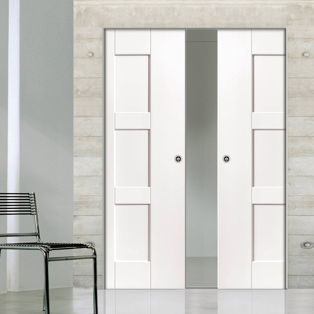 Geo Panelled Absolute Evokit Double Pocket Doors - White Primed