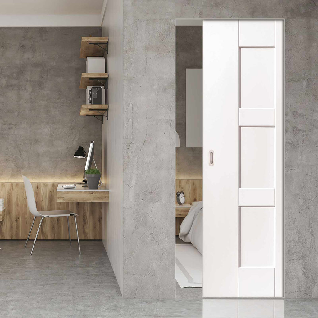 Geo Panelled Absolute Evokit Pocket Door - White Primed