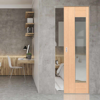 Image: Axis Shaker Oak Absolute Evokit Pocket Door - Clear Glass - Prefinished