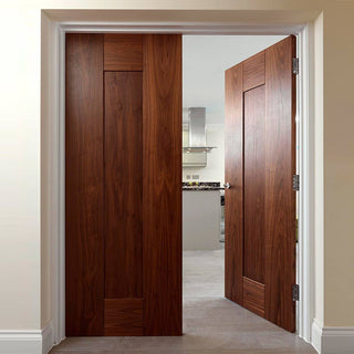Image: Symmetry Axis Walnut Shaker Panel Door Pair - Prefinished