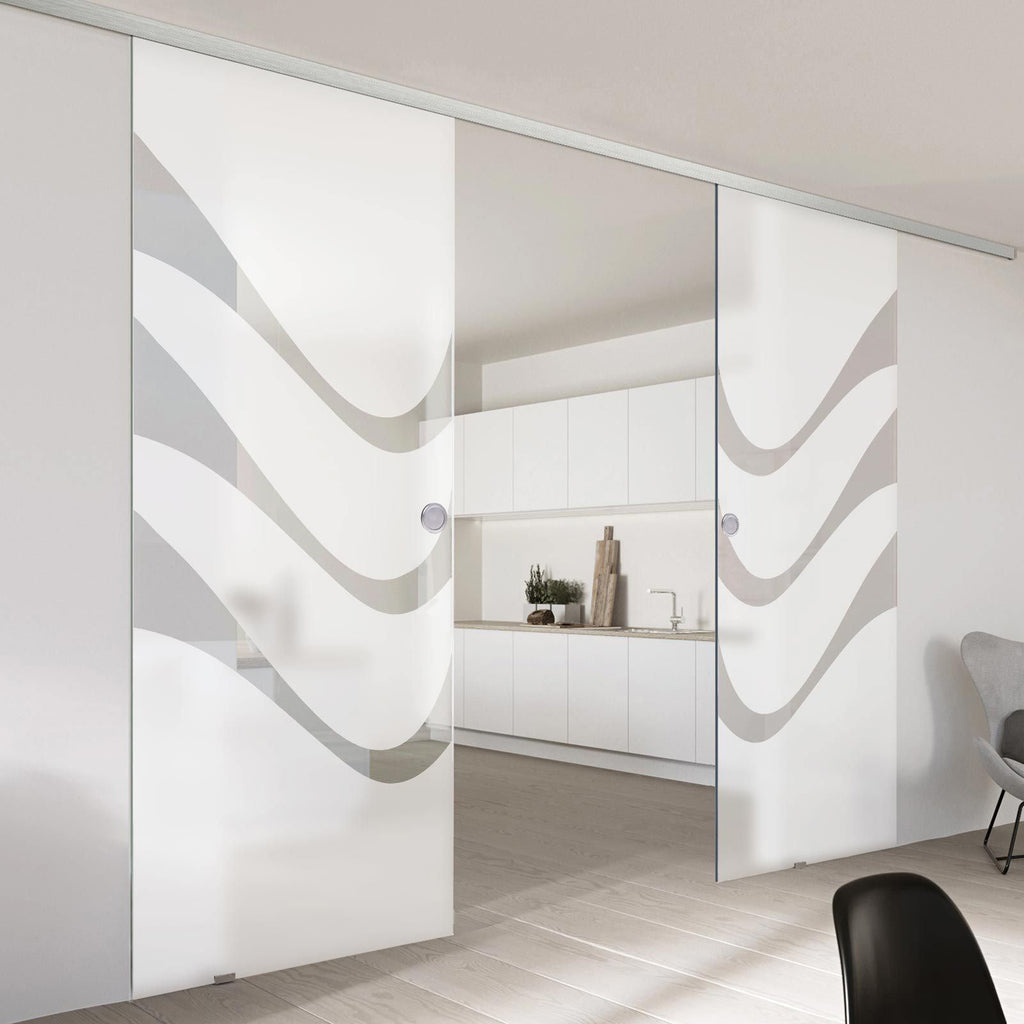 Double Glass Sliding Door - Temple 8mm Obscure Glass - Clear Printed Design - Planeo 60 Pro Kit