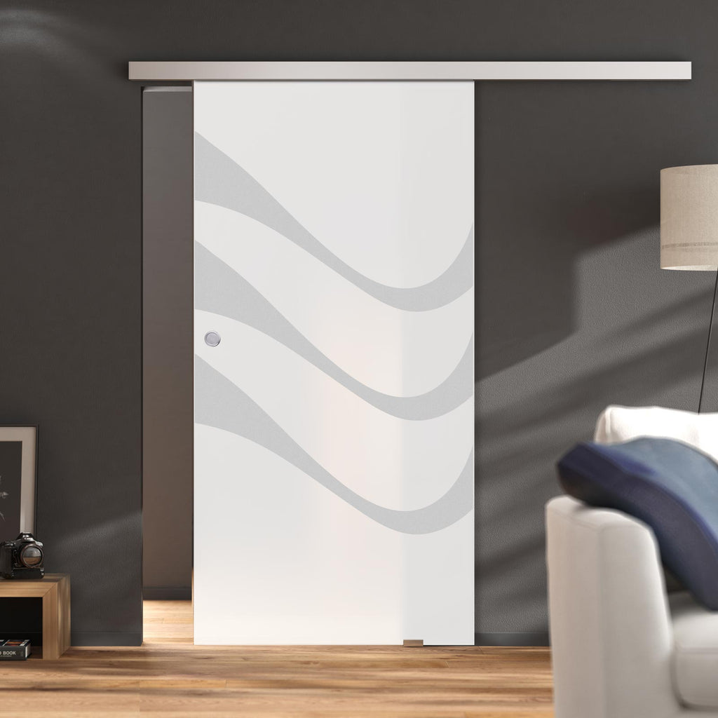 Single Glass Sliding Door - Temple 8mm Obscure Glass - Obscure Printed Design - Planeo 60 Pro Kit