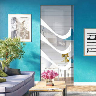 Image: Temple 8mm Clear Glass - Obscure Printed Design - Single Absolute Pocket Door