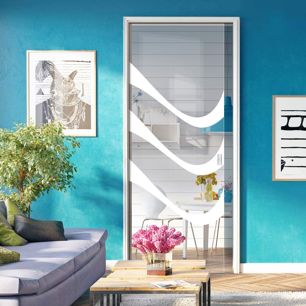 Temple 8mm Clear Glass - Obscure Printed Design - Single Evokit Glass Pocket Door