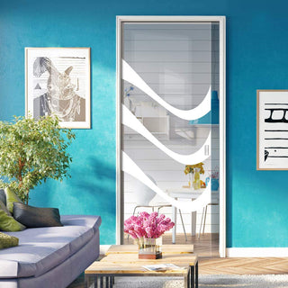Image: Temple 8mm Clear Glass - Obscure Printed Design - Single Evokit Glass Pocket Door