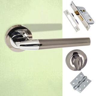 Image: Tennessee Status Bathroom Lever on Round Rose - Black Nickel -  Polished Chrome Handle Pack