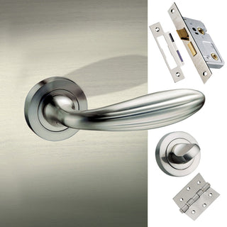 Image: Terassa Mediterranean Bathroom Lever on Rose - Satin Nickel Handle Pack