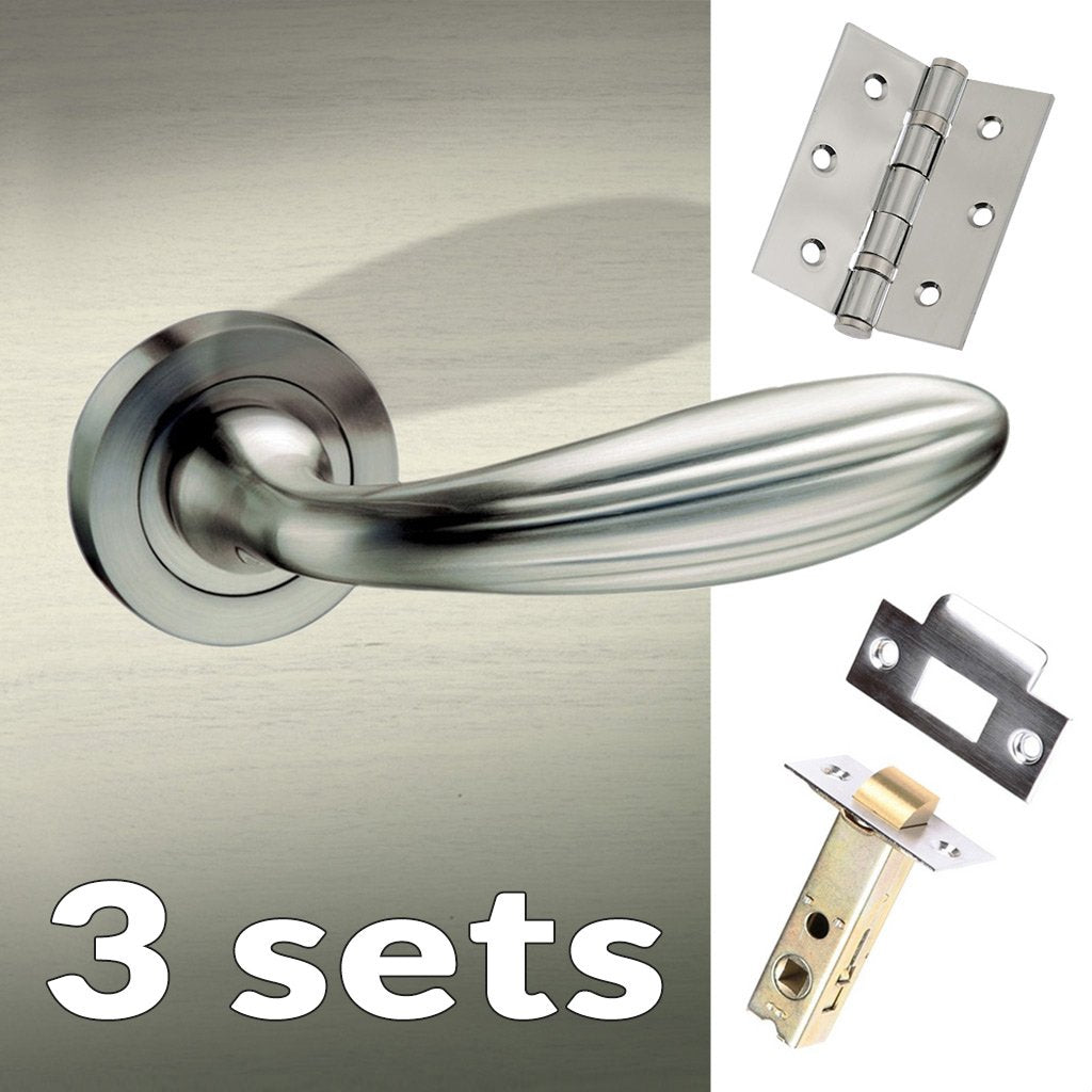 Three Pack Terassa Mediterranean Lever on Rose - Satin Nickel Handle