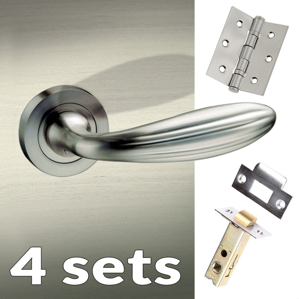 Four Pack Terassa Mediterranean Lever on Rose - Satin Nickel Handle