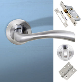 Image: Texas Status Bathroom Lever on Round Rose - Satin Chrome Handle Pack