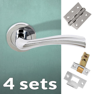 Image: Four Pack Texas Status Lever on Round Rose - Polished Chrome Handle