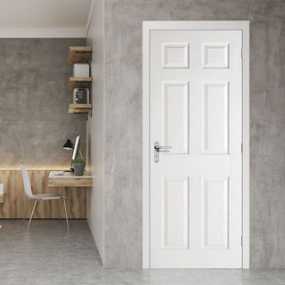 Image: White Fire Door, Textured 6 Panel Door - 1/2 Hour Rated - White Primed