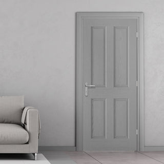 Image: Textured 4 Panel Grey Door - 30 Minute Fire Rated - Prefinished