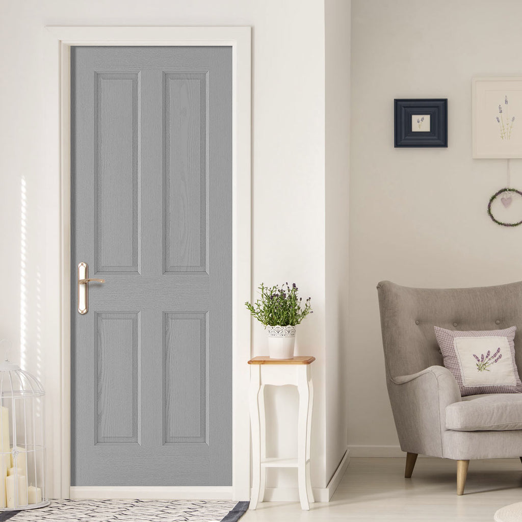 Textured 4 Panel Grey Door - Prefinished