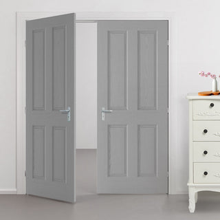 Image: Textured 4 Panel Grey Door Pair - Prefinished